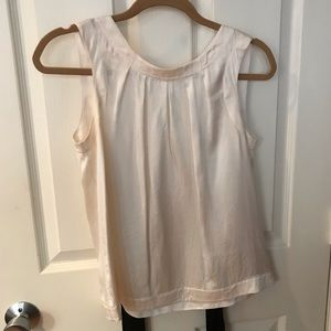 Banana Republic cream top with black ribbon tie